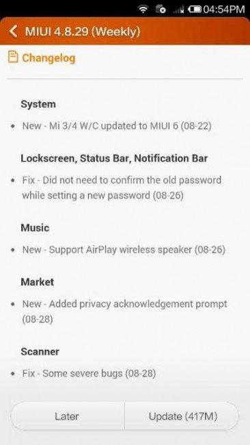 Atualização do MIUI V6