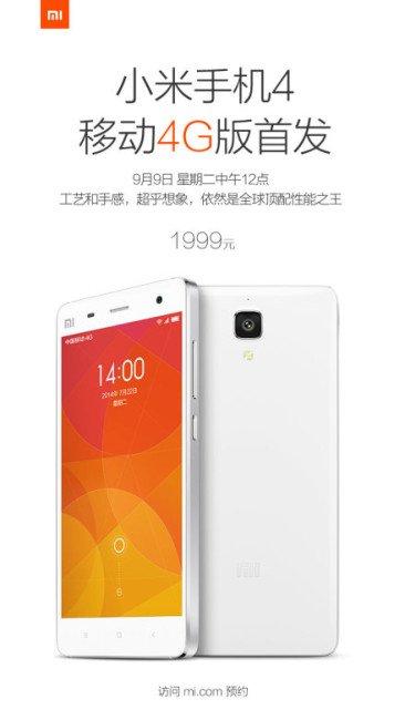Xiaomi Mi4 LTE Sul Mercato Dal 9 Settembre