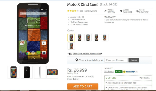 Moto X 2nd Gen Gets a Price Cut Now Starts at Rs. 26,999
