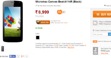 Micromax Canvas Beat A114R (Black) Now Available For Rs. 8999