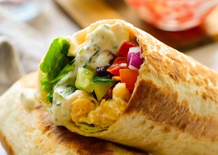 mediterranean salad veggie wrap