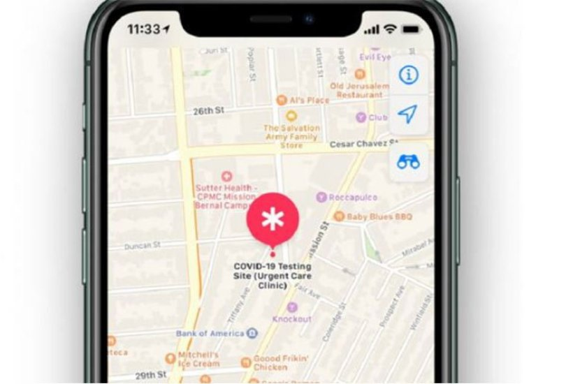 Apple Maps Covid-19 Testing centre