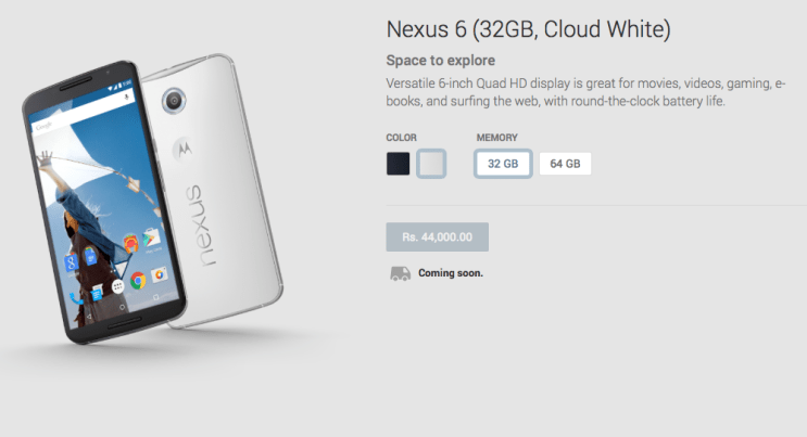 nexus 6 india price