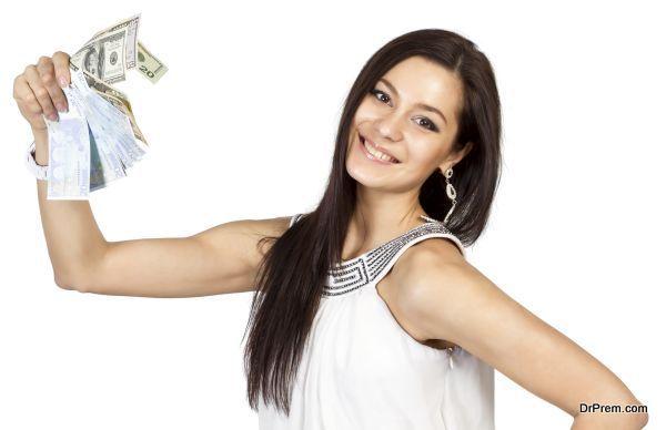Beautiful dark-haired girl shows easy money