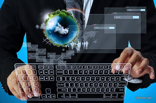 presses keyboard touch screen interface Workplace businessman