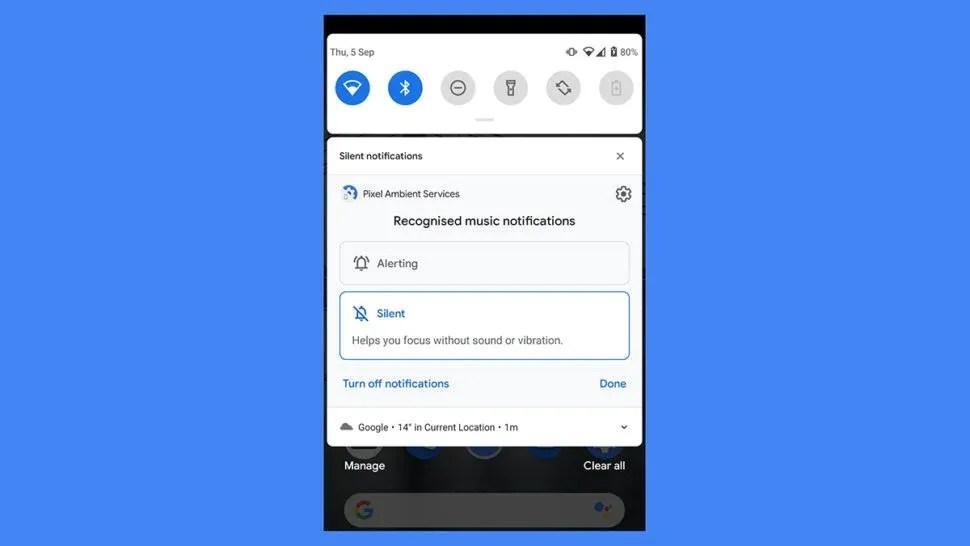 Notificações silenciosas no Android 10