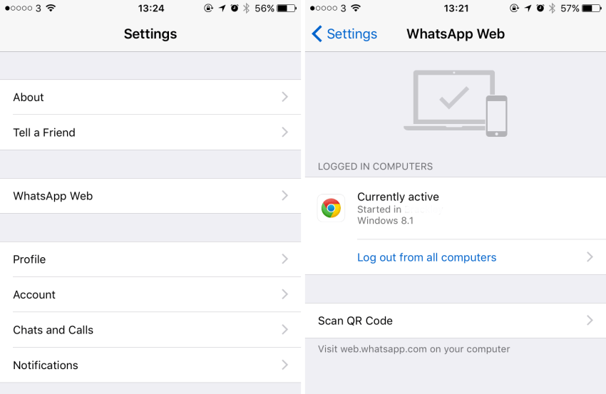 WhatsApp Web no iOS 9