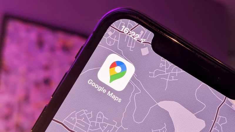 Logo do aplicativo Google Maps em um iPhone