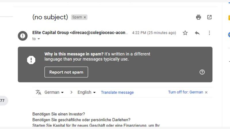 Interface de e-mail do Gmail em que mostra uma mensagem de spam. Crédito: Gizmodo