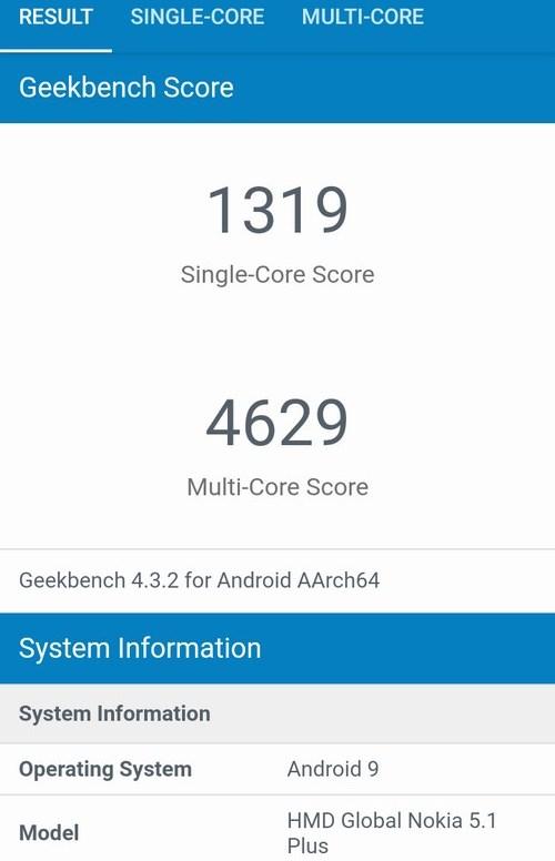 Hasil benchmark dengan GeekBench
