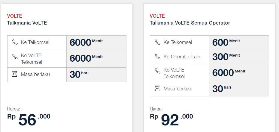 Paket Talkmania VoLTE Telkomsel