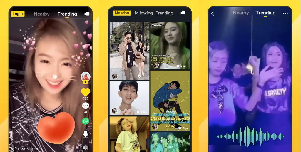 screenshot aplikasi snack video