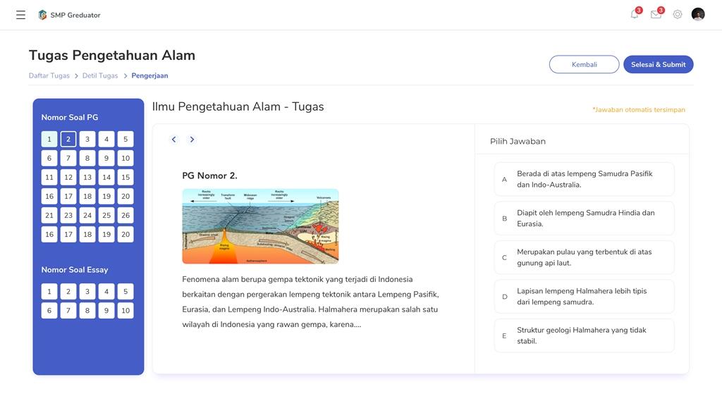 Fitur Tugas Online Gredu juga dapat diakses dari web.