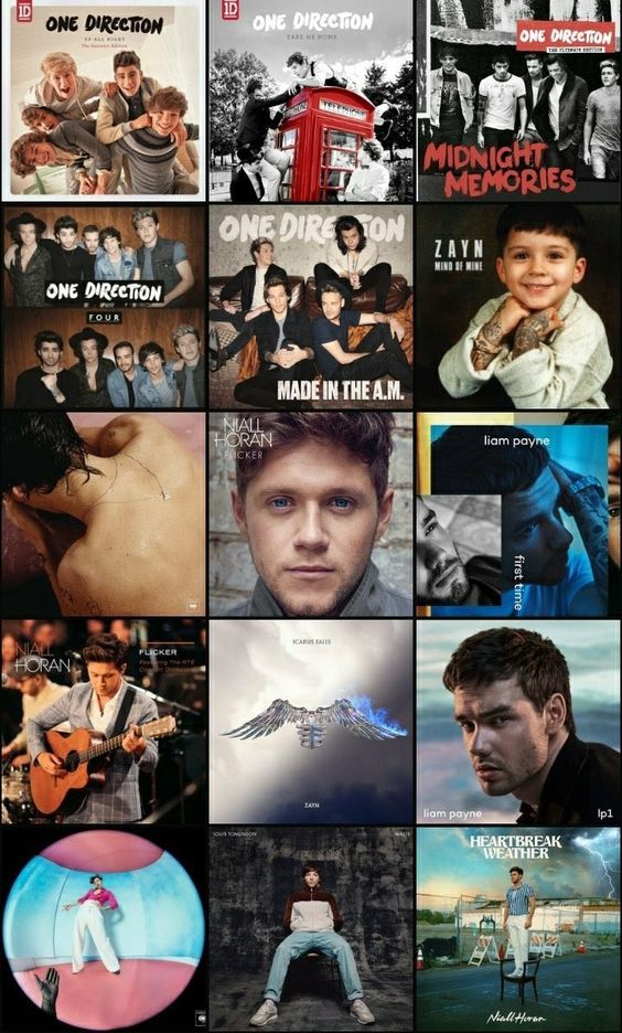 One Direction Solo Albums and Group Albums Covers'