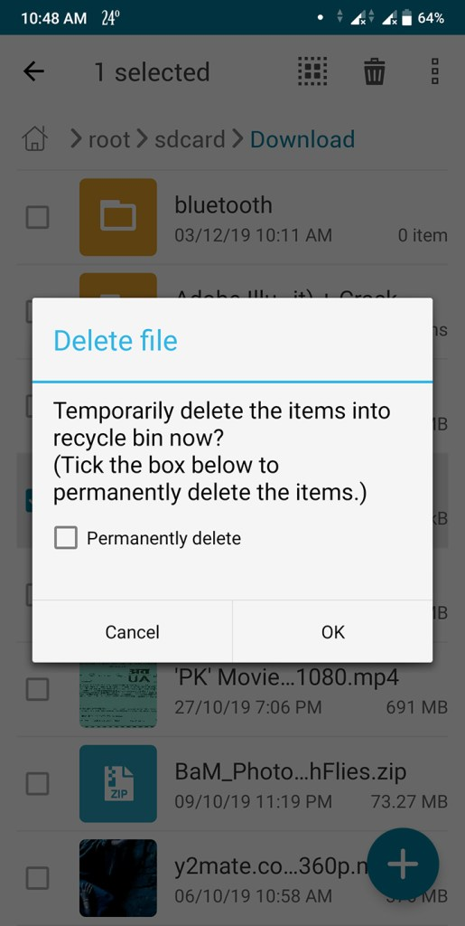Recycle in asus file manager for android