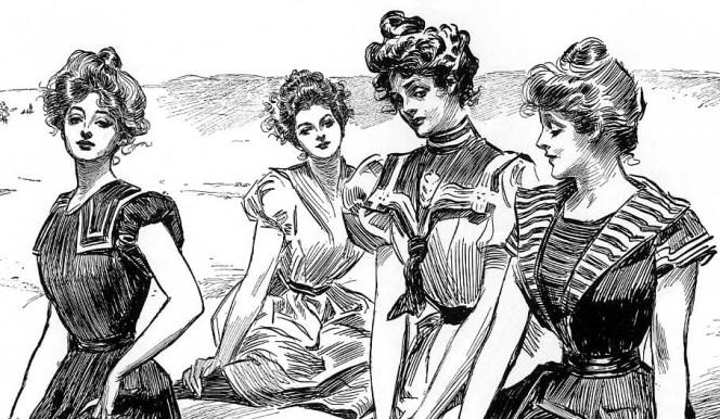 Gibson Girls på stranda. Illustrasjon av Charles Dana Gibson.