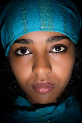 Ethiopian girl with blue scarf