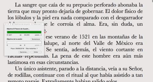 Ejemplo de escritura en Scrivener