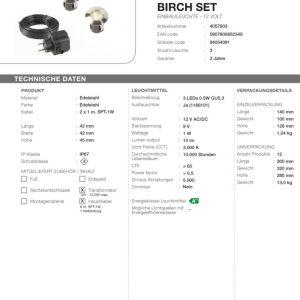 LED Bodeneinbauleuchten-Set Birch warm weiss