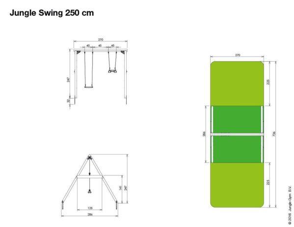 Doppelschaukel Swing 250 cm Abmessungen
