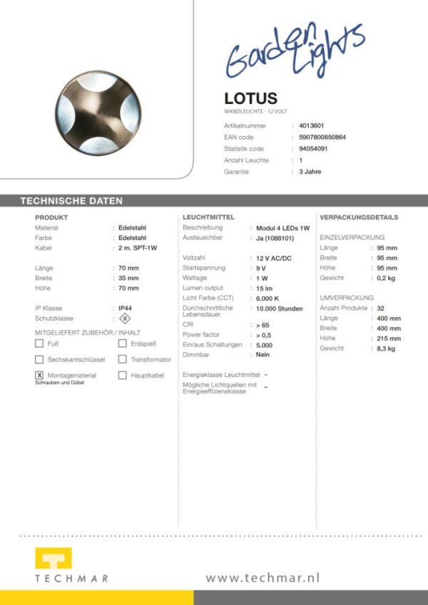 LED Wandleuchte Lotus