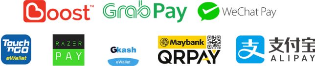 eWallets - Boost   GrabPay   WeChatPay   Touch n Go   AliPay   Maybank QRPay