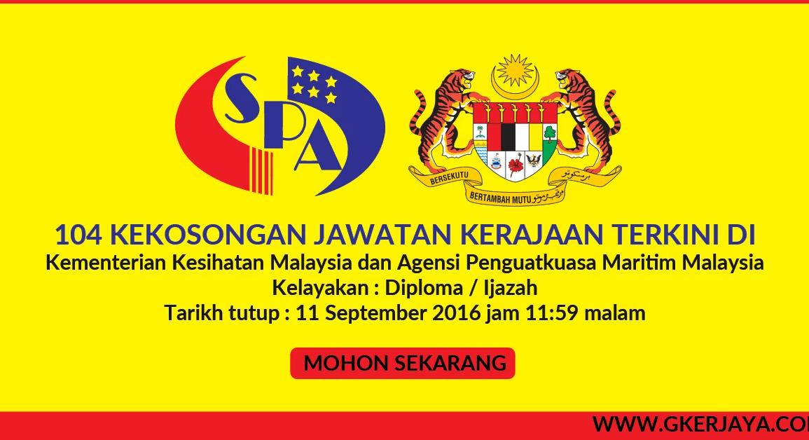 Iklan jawatan kosong kerajaan SPA8 104 kekosongan