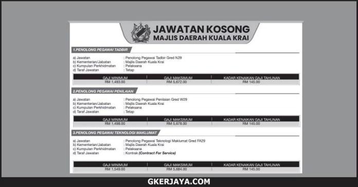Jawatan Kosong Kerajaan Majlis Daerah Kuala Krai (1)