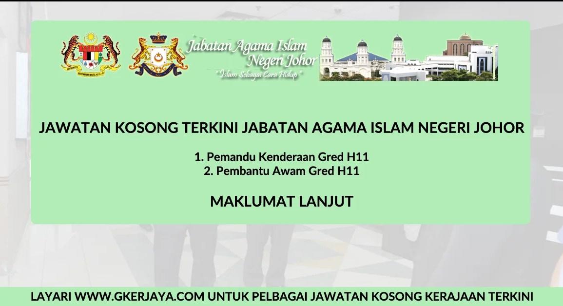 Jawatan kosong jabatan Agama Islam Johor