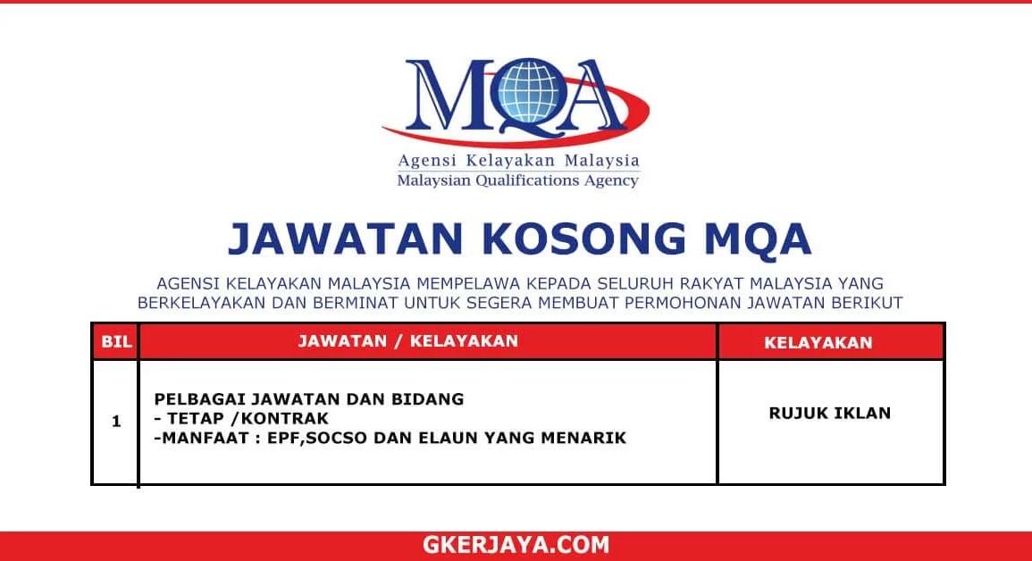 Kerja Terkini Agensi Kelayakan Malaysia MQA (1)