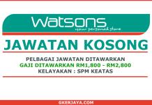 Kerja kosong Watsons Permohonan Online