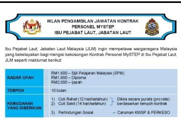 kerja kosong di Jabatan Laut Malaysia