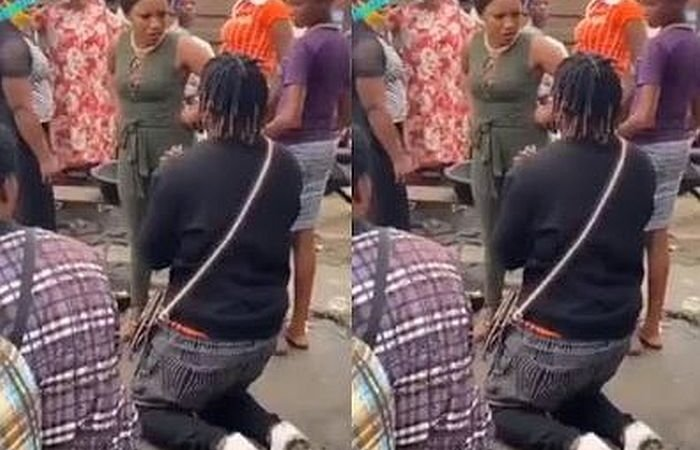 """Stop Embarrassing Me"" – Lady Tells Boyfriend As He Proposes To Her In The Market"
