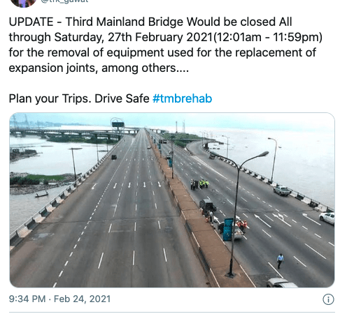 Third Mainland Bridge To Be Closed Throughout Saturday, February 27 2