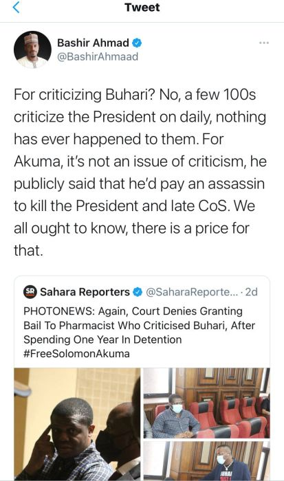 Presidency Reacts As Man Who 'Criticized Buhari' Clocks One Year In Detention 1