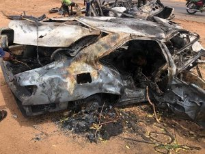 SAD! Photos From The Burial Of 5 Adamawa Friends Burnt To Death In Ghastly Motor Accident