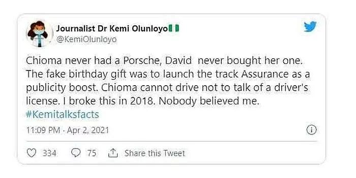 "Davido Never Bought Chioma A Porsche, It Was Fake Gift"" – Kemi Olunloyo Reveals 1"