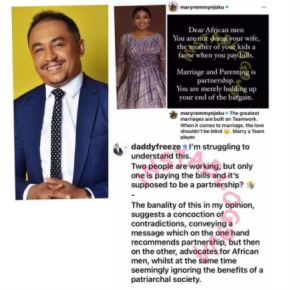 "DO YOU AGREE? ""Men Should Share Bills With Their Wives, Not Pay Bills"" – Daddy Freeze 1"