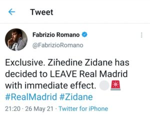 Zinedine Zidane To Leave Real Madrid With Immediate Effect 1