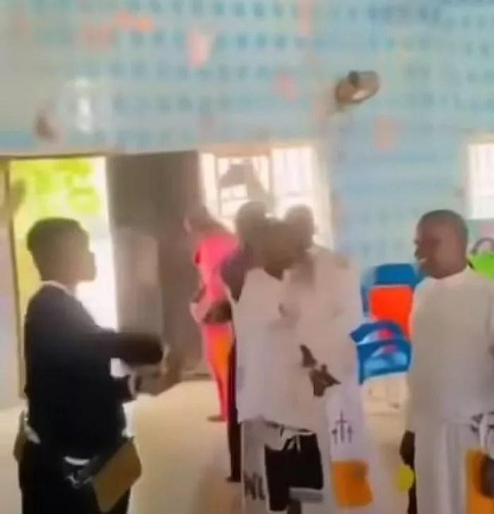 Suspected Yahoo Boys Storm Celestial Church, Spray Cash On Spiritualist (Watch Video)