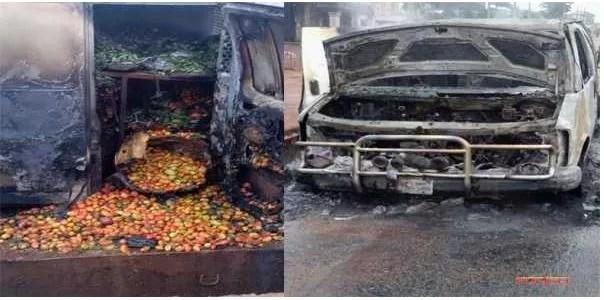 Sit-at-home: Hoodlums Set Ablaze Bus Conveying Foodstuffs To Enugu