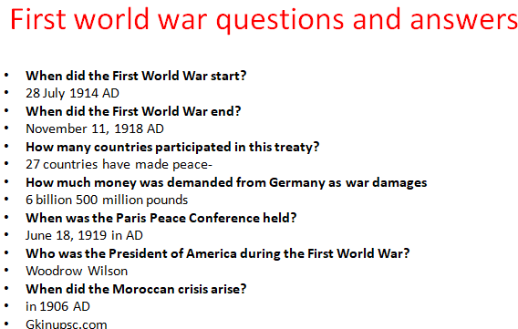 First world war questions and answers