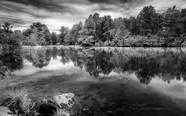 """""""Down by the Lake"""", Canon 5D Mk3, 24-70mm f/2.8L Mk2, Singh-Ray Color Combo Polarizer, Galen Rowell 2-stop hard ND Grad, Converted to B&W in Lightroom"""