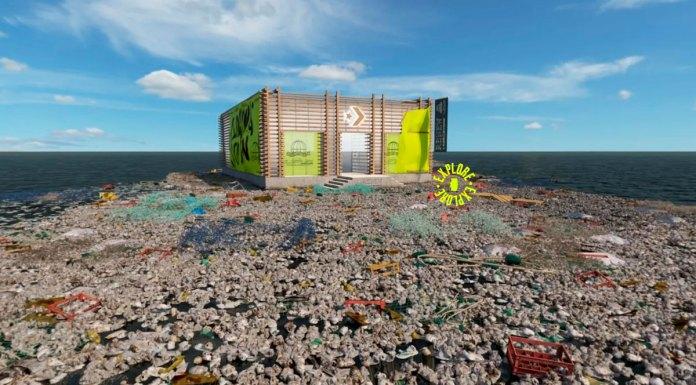 Na foto, a loja virtual da Converse no meio do lixo da Ilha de Lixo do Pacífico.