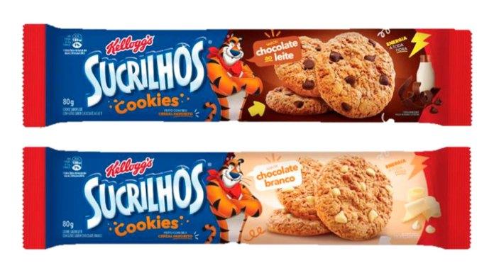 Embalagens dos Cookies Sucrilhos gotas de chocolate ao leite de branco da Kellogg's.