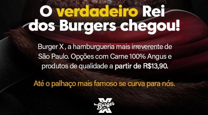 Foto de divulgação da campanha do Burger X provocando o mcDonald's e o Burger King.