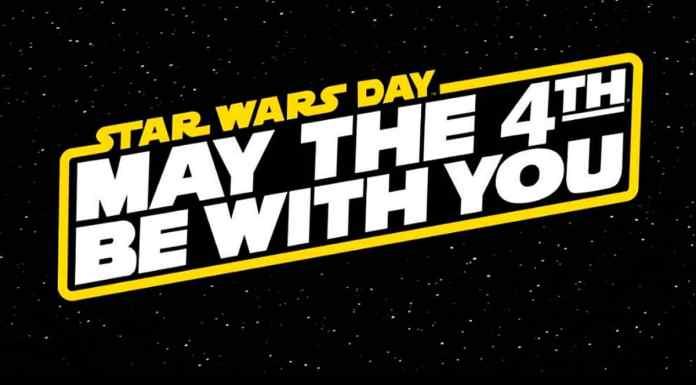 Foto de divulgação do Star Wars Day da Disney. A foto apresenta um fundo de universo com a frase