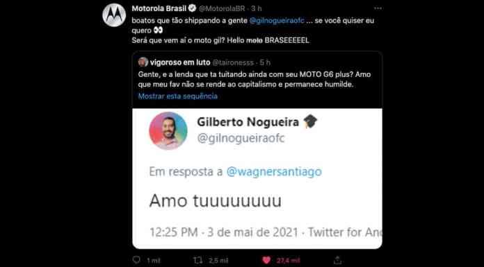 Motorola interage com Gil do Vigor