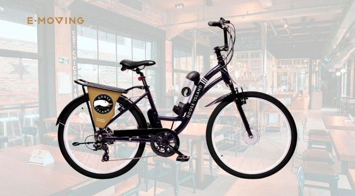 Foto de divulgação da bicicleta da E-Moving em parceria com a Goose Island.
