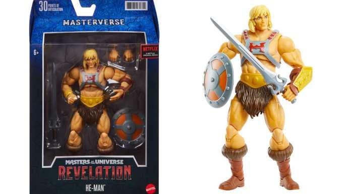 Foto de divulgação dos action figures de He-Man.